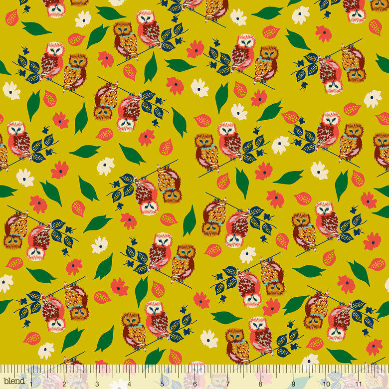 Owls on gold yellow cotton with flowers from Blend Fabrics - view 1