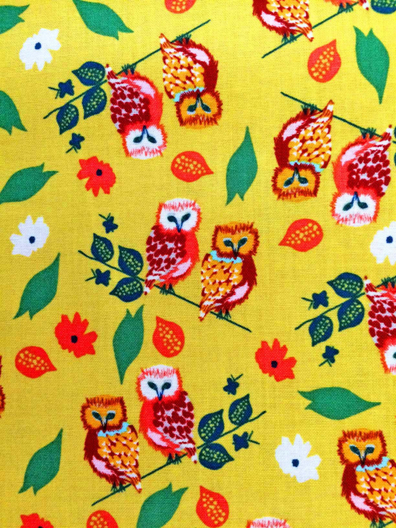 Owls on gold yellow cotton with flowers from Blend Fabrics - view 3