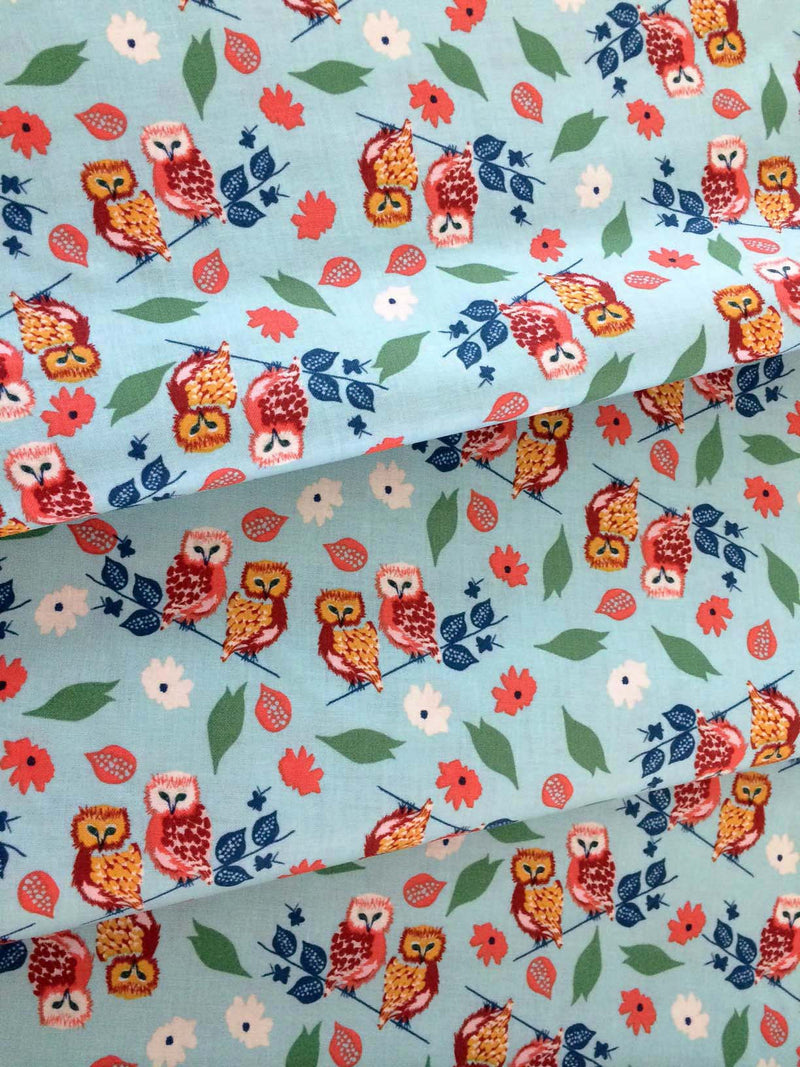 Owls and flowers on blue cotton fabric from Blend Fabrics - view 2