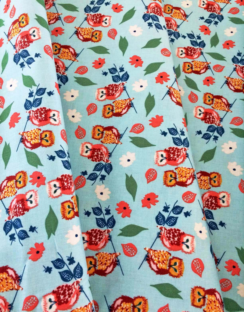 Owls and flowers on blue cotton fabric from Blend Fabrics - view 3