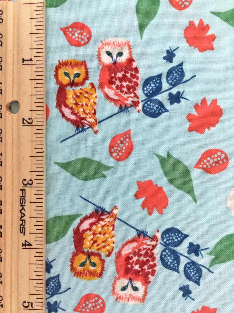 Owls and flowers on blue cotton fabric from Blend Fabrics - view 4
