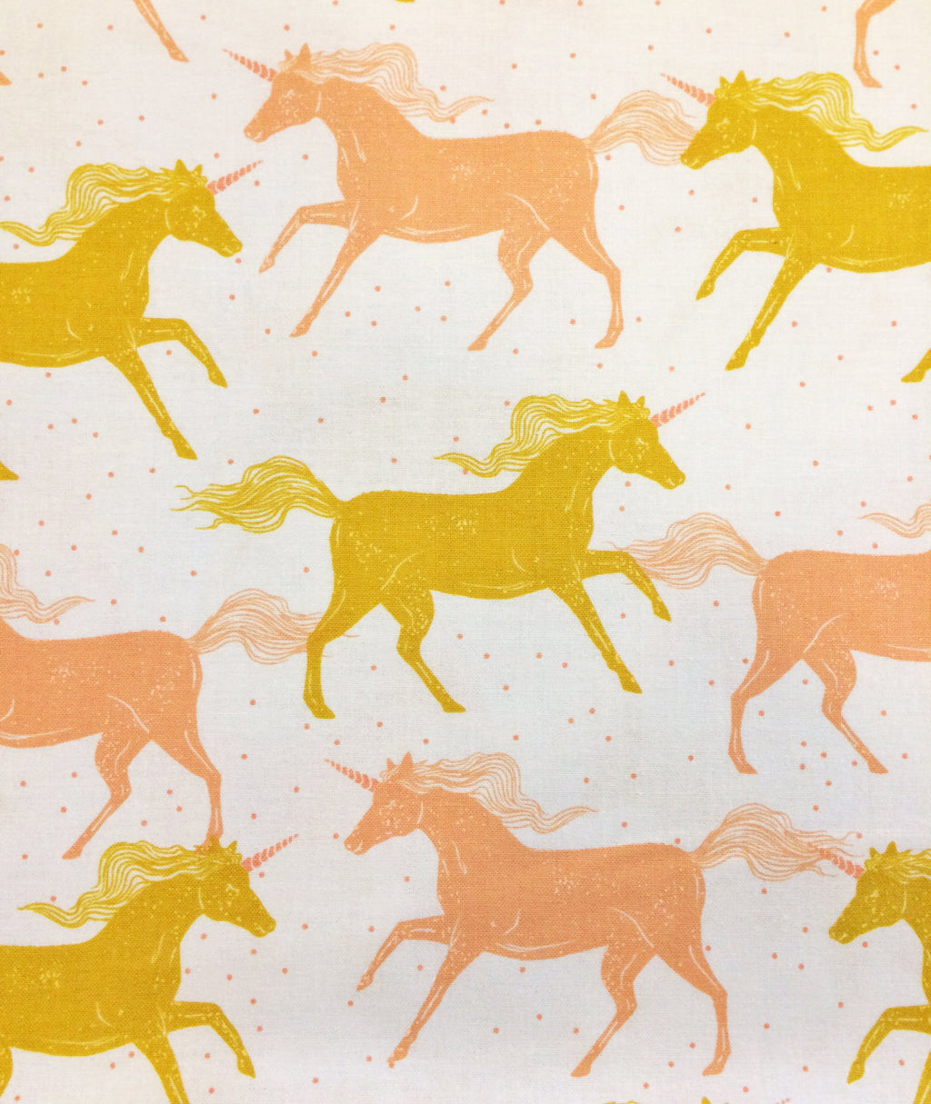 Gold and pink unicorns on white cotton from Cotton and Steel Fabrics - view 1