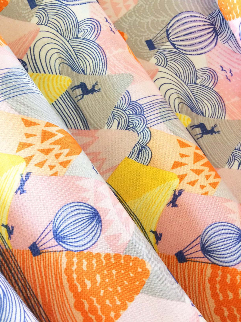 Hot Air Balloons float over a mountain range on 100% cotton from Blend Fabrics - view 2