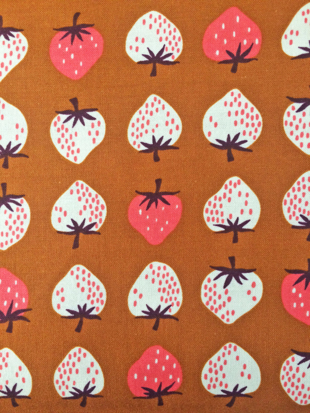 Strawberries on orange cotton from Cotton and Steel Fabrics - view 1