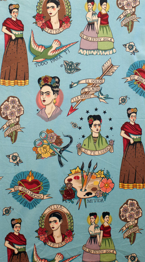 Frida and hearts on blue cotton from Alexander Henry Fabrics - view 2