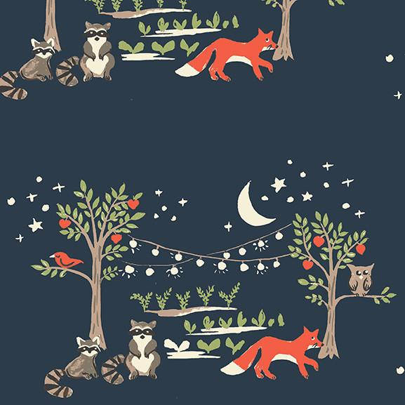 Fox on organic blue cotton from Monaluna Organic Fabrics - view 1