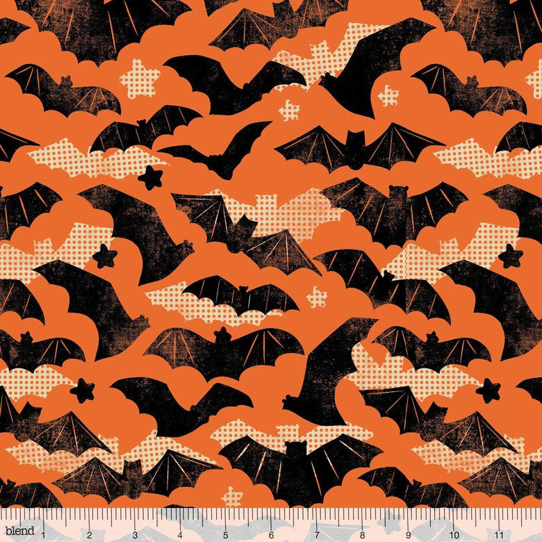 Bats and stars on a retro Halloween print on orange cotton for quilting and sewing from Blend Fabrics - view 1