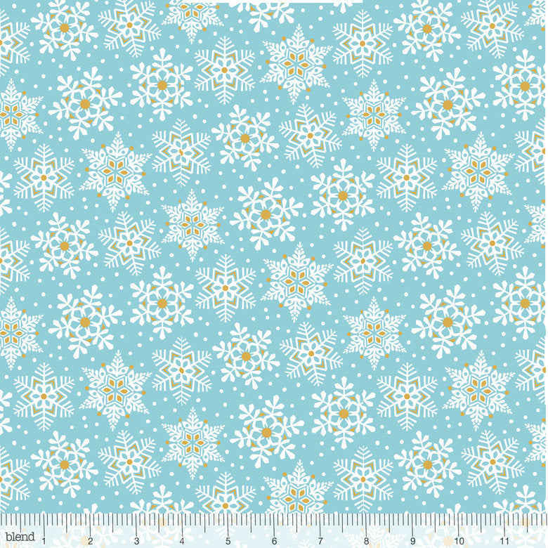 Beautiful blue white and gold snowflake fabric from Blend Fabrics - view 1