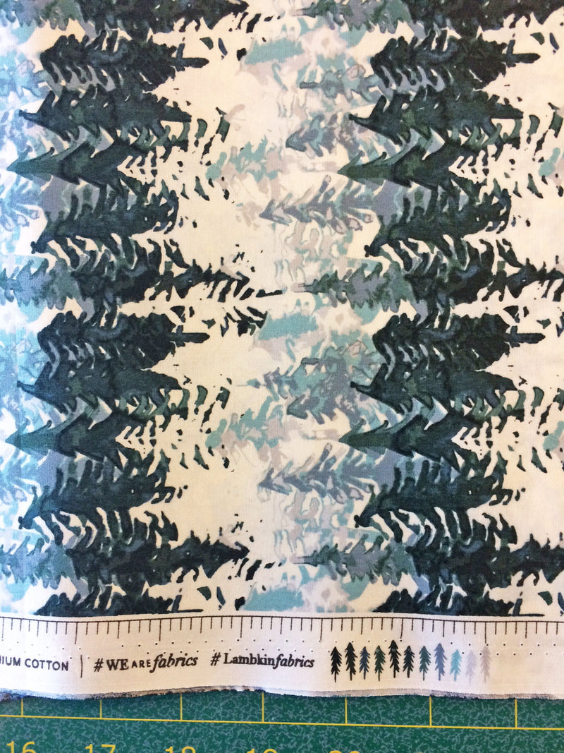 White and green tree cotton fabric from Art Gallery Fabrics - view 4