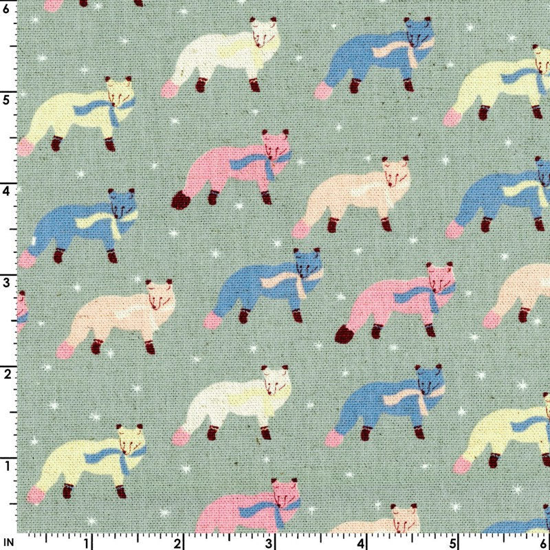 Blue and pink fox on grey canvas fabric from Kokka Fabric - view 2