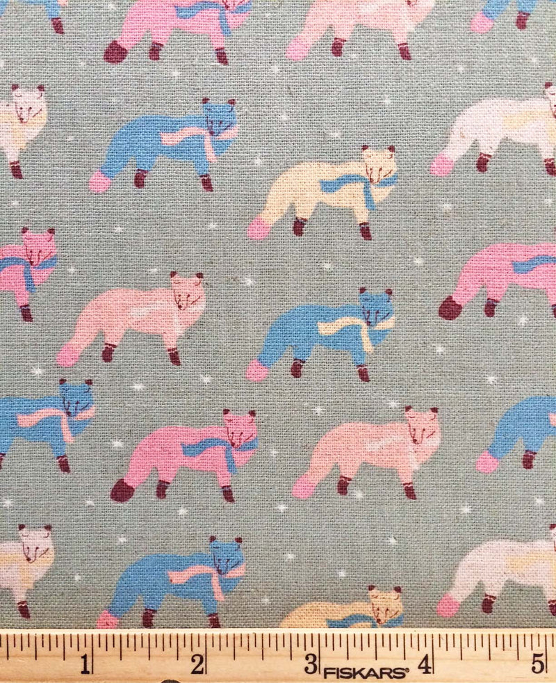 Blue and pink fox on grey canvas fabric from Kokka Fabric - view 5