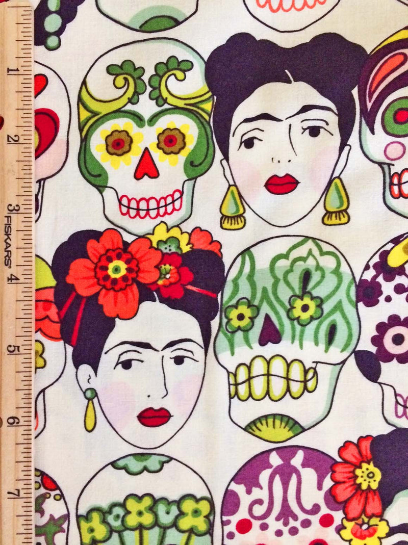 Frida faces and skulls on white cotton from Alexander Henry Fabrics - view 4