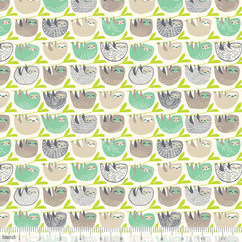 Sweet little pink and green sloths hanging in a row from branches makes a great nursery fabric from Blend Fabrics - view 1