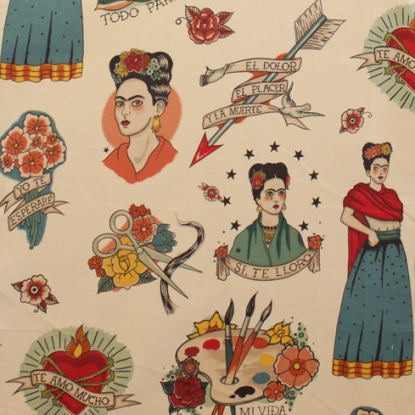 Frida and hearts on off white cotton from Alexander Henry Fabrics - view 1