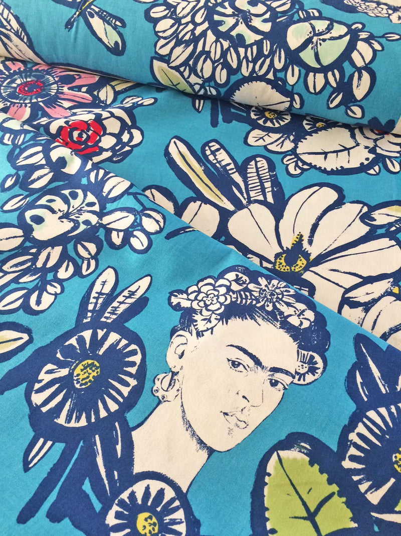 Frida faces and dragonflies on deep red cotton from Alexander Henry Fabrics - view 4