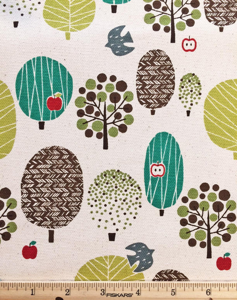 Trees on white canvas from Kokka Fabrics - view 2