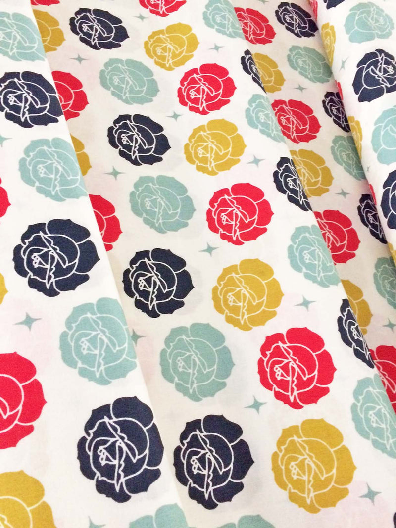 Roses on white organic cotton from Birch Organic Fabrics - view 5