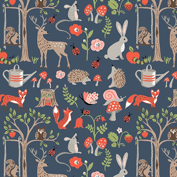 Deer rabbits and hedgehogs on navy blue organic cotton fabric from Monaluna Organic Fabrics - view 1