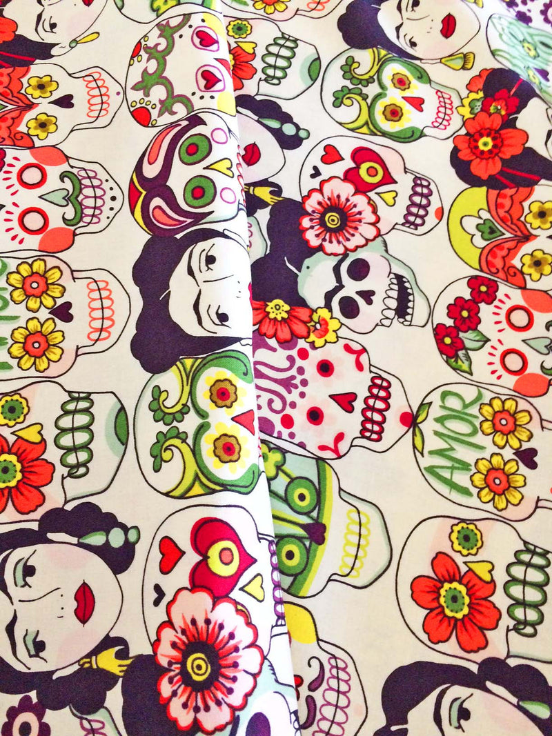 Frida faces and skulls on white cotton from Alexander Henry Fabrics - view 2