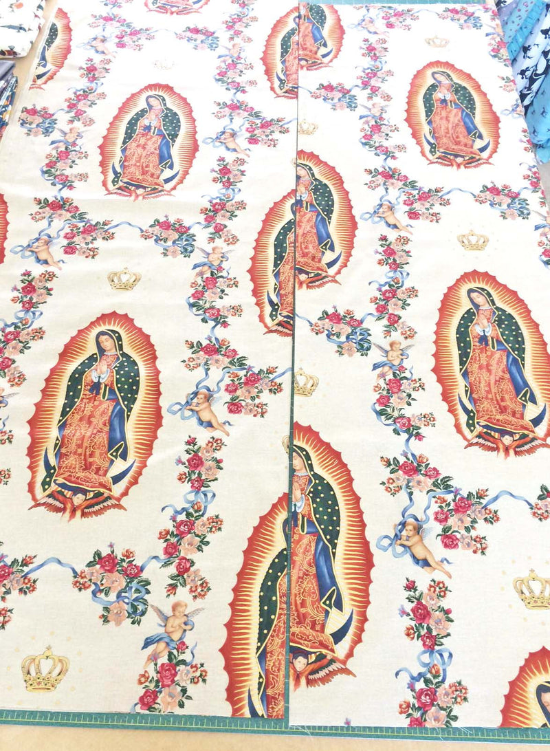 Guadalupe figures and cherubs on off white cotton with gold metallic from Alexander Henry Fabrics - view 2