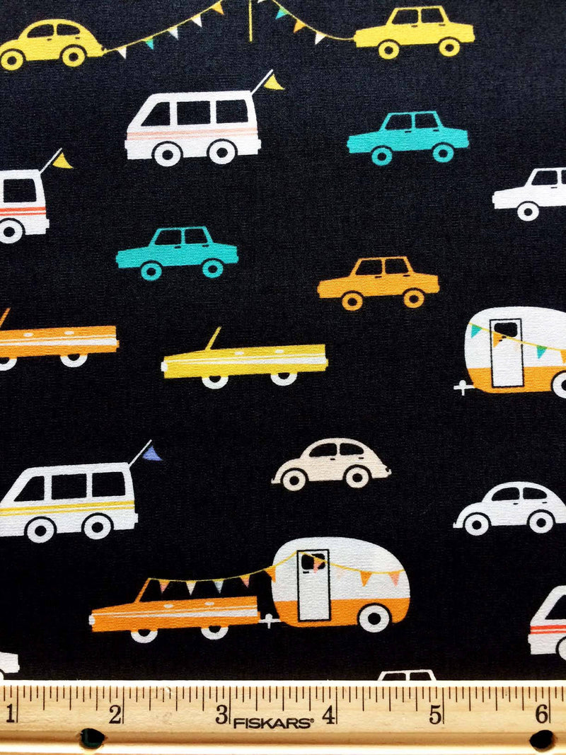Campers and cars on black cotton fabric from Art Gallery Fabrics - view 2