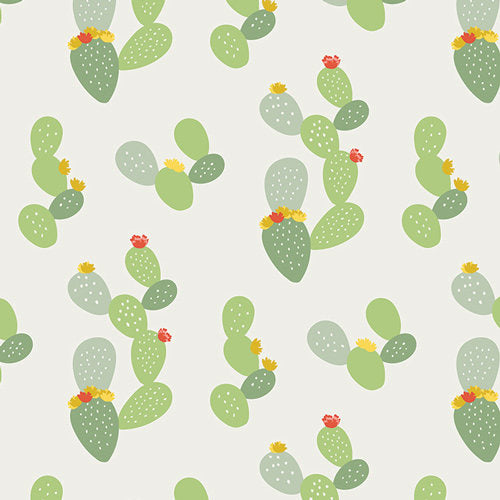 Green cacti and flowers on white cotton fabric from Art Gallery Fabrics - view 1