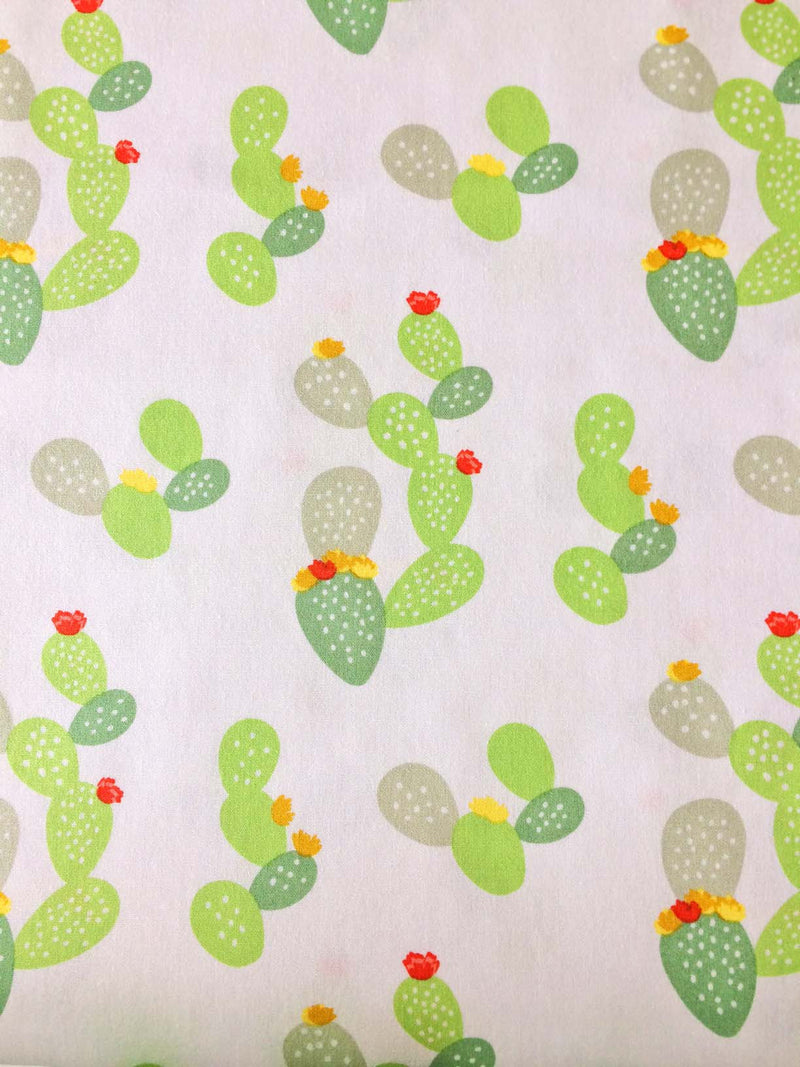 Green cacti and flowers on white cotton fabric from Art Gallery Fabrics - view 2