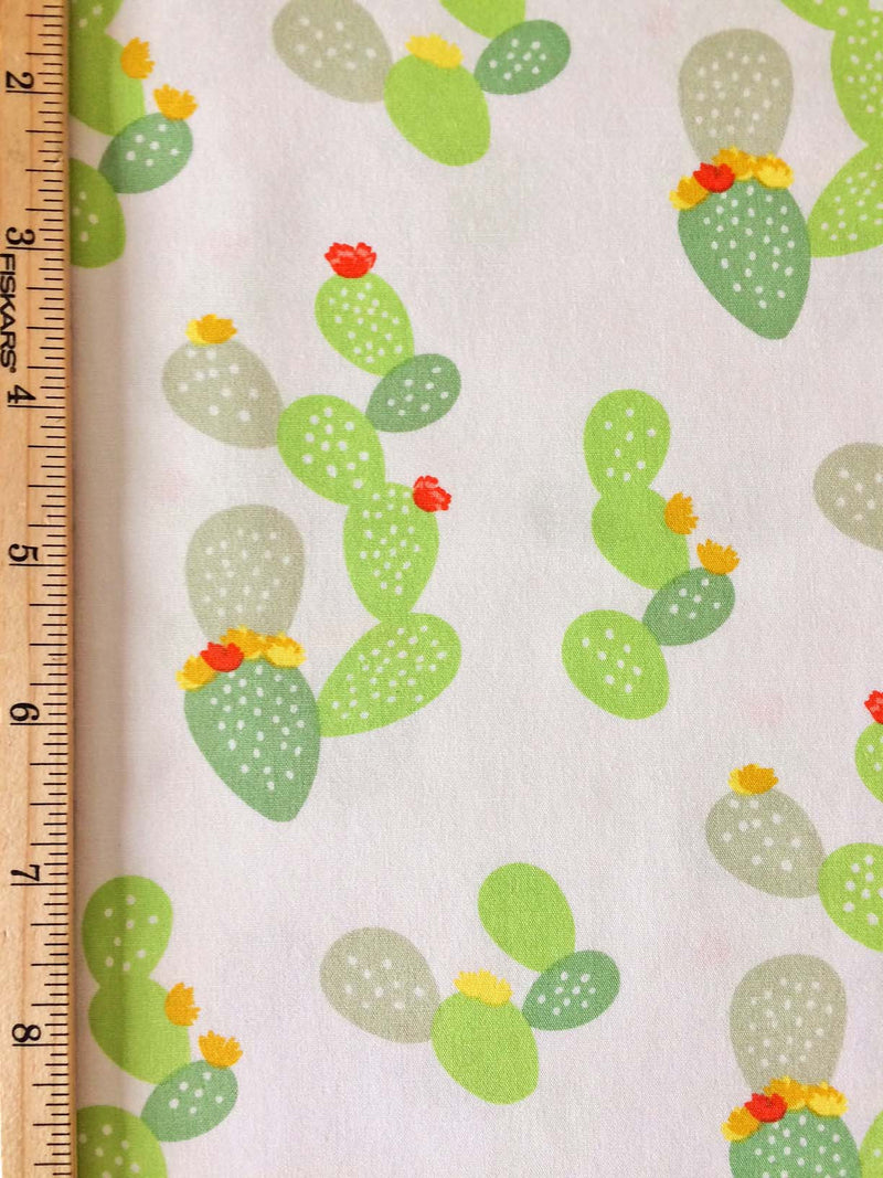 Green cacti and flowers on white cotton fabric from Art Gallery Fabrics - view 4