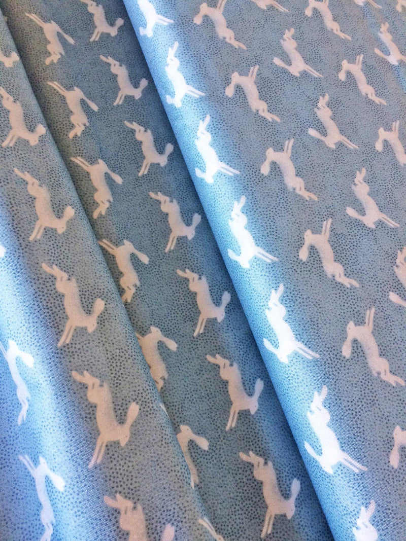 White rabbits on gray blue cotton from Andover Fabrics - view 2