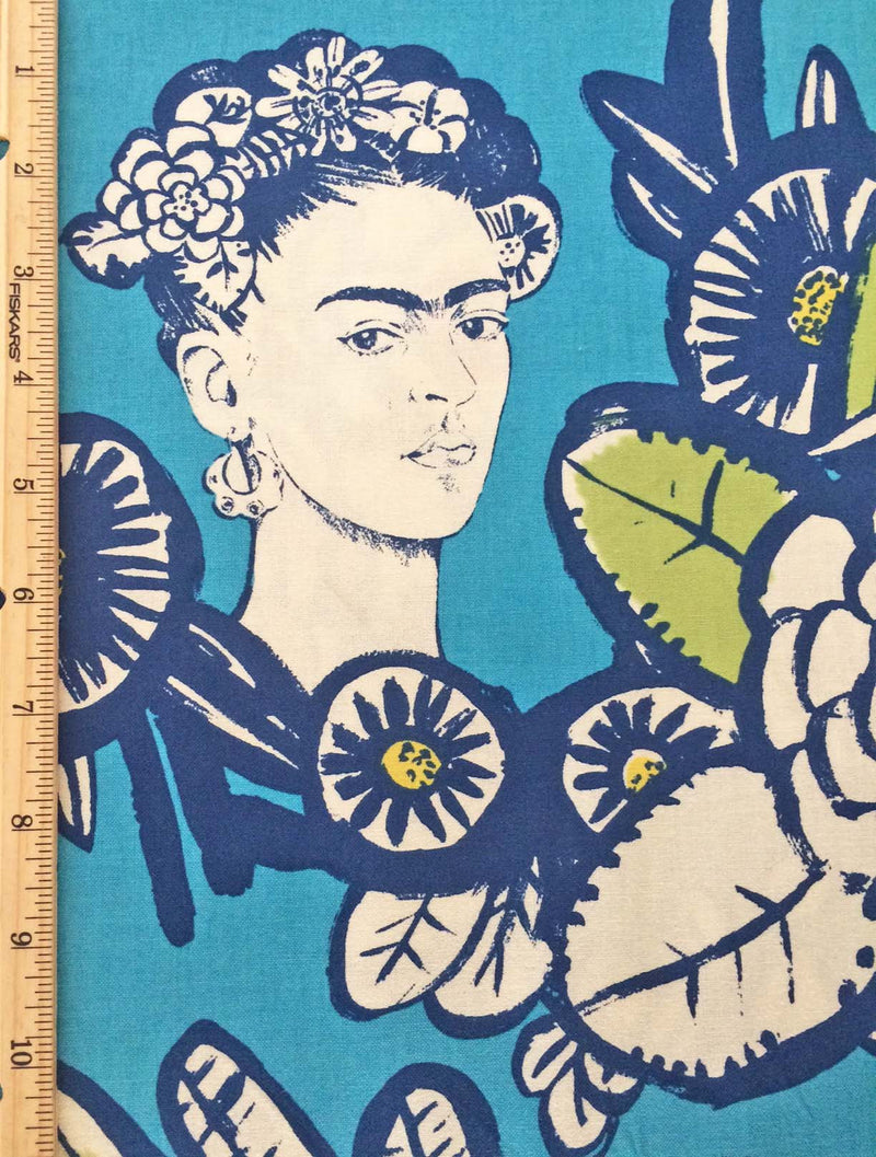 Frida faces and dragonflies on deep red cotton from Alexander Henry Fabrics - view 3
