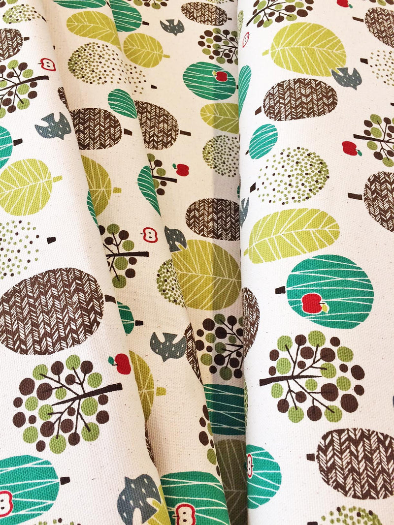 Trees on white canvas from Kokka Fabrics - view 4