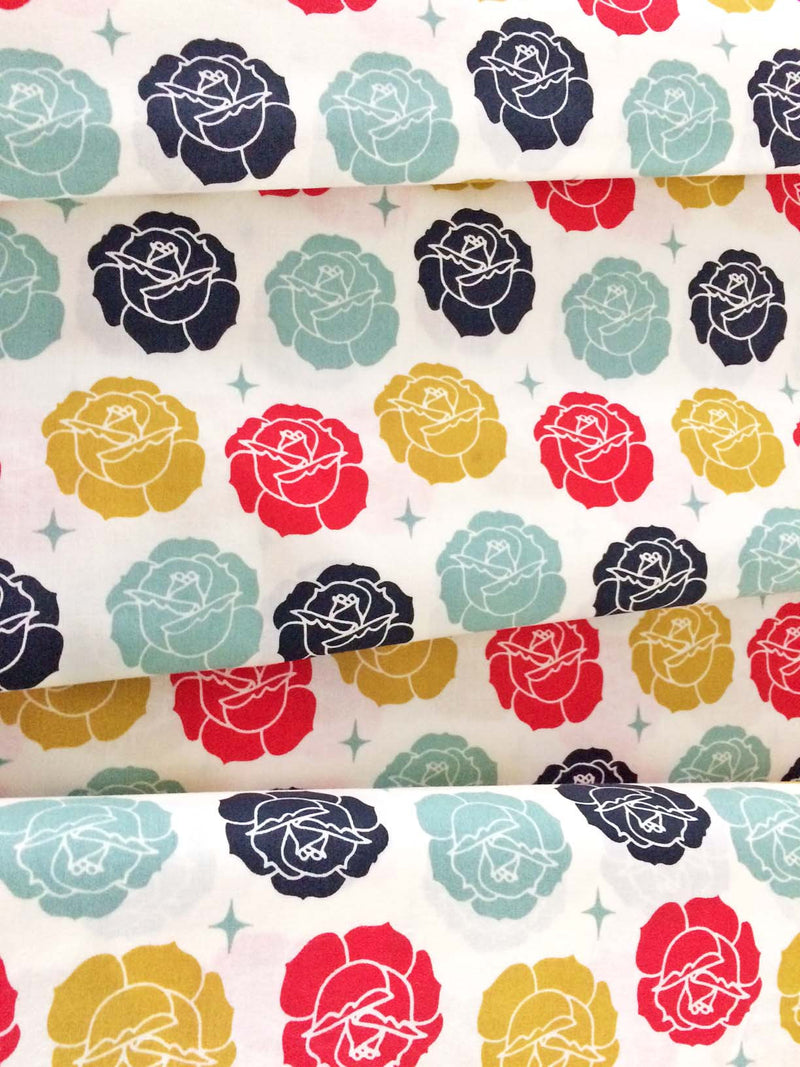 Roses on white organic cotton from Birch Organic Fabrics - view 4