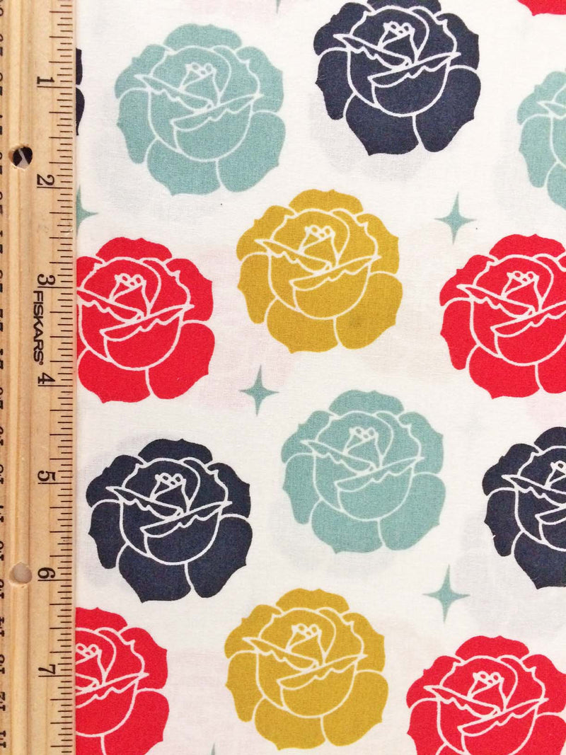 Roses on white organic cotton from Birch Organic Fabrics - view 2