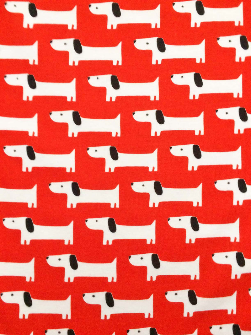 White dogs on red organic knit fabric from Cloud 9 Fabrics - view 2