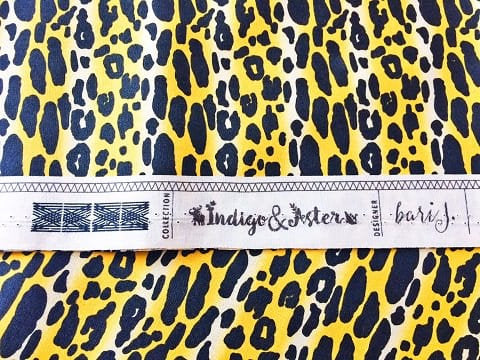 Faux leopard print fabric with black spots on yellow on premium cotton - view 3