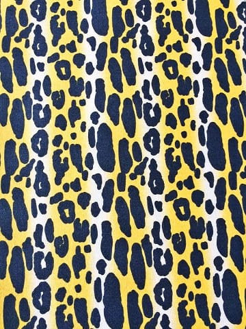 Faux leopard print fabric with black spots on yellow on premium cotton - view 5