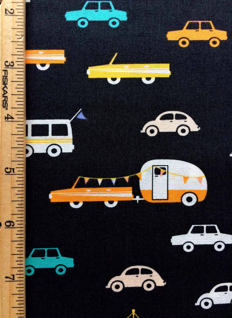 Campers and cars on black cotton fabric from Art Gallery Fabrics - view 3