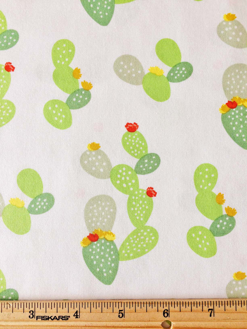 Green cacti and flowers on white cotton fabric from Art Gallery Fabrics - view 3