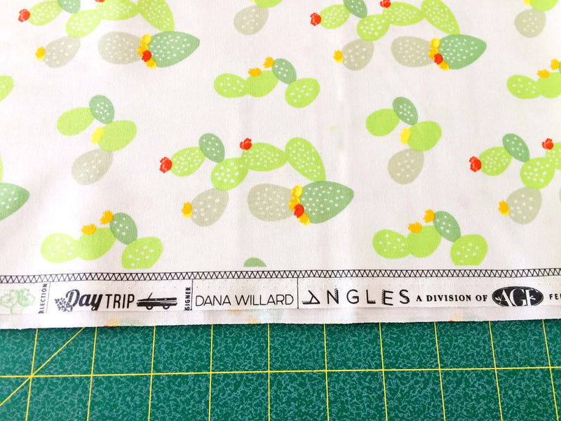 Green cacti and flowers on white cotton fabric from Art Gallery Fabrics - view 5
