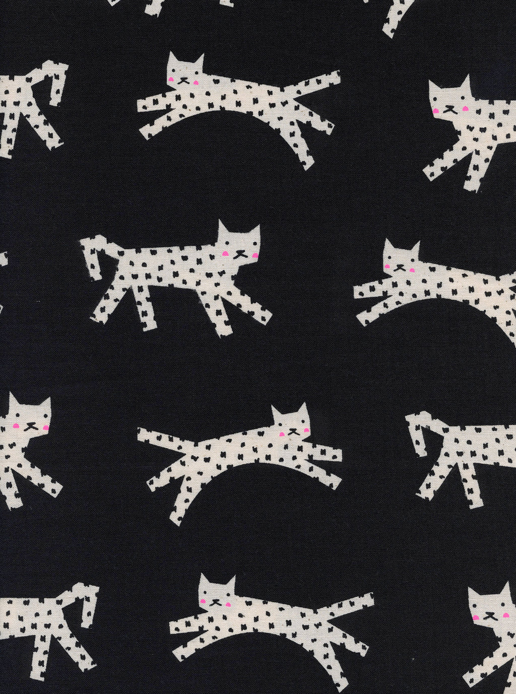 White cats with black spots on black cotton from Cotton + Steel Fabrics - view 1