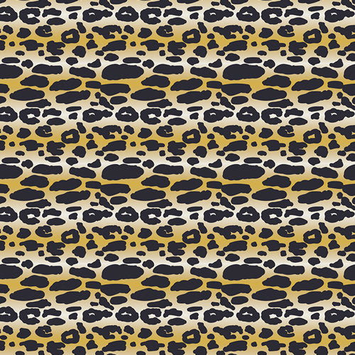 Faux leopard print fabric with black spots on yellow on premium cotton - view 1