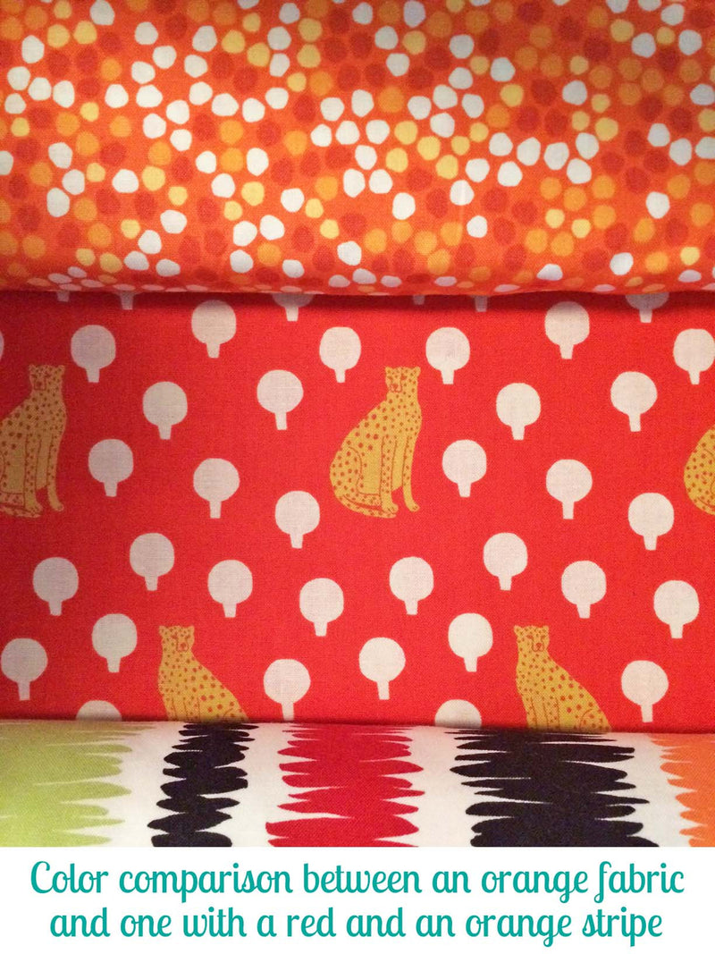Cheetahs on rich bright red cotton with little circular bushes from Andover Fabrics. - view 6