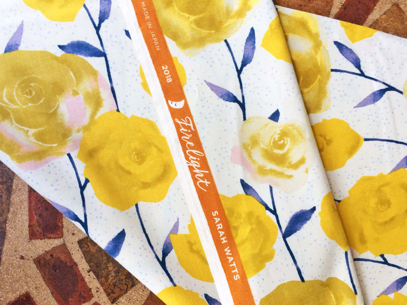 Big yellow roses on painted blue stems on white background in a pretty floral - view 3