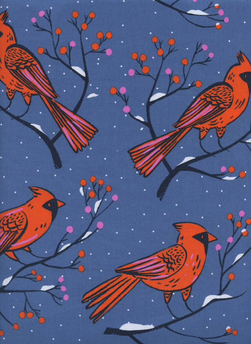 Big red cardinals sit on berry branches on bright rich blue cotton fabric - view 2
