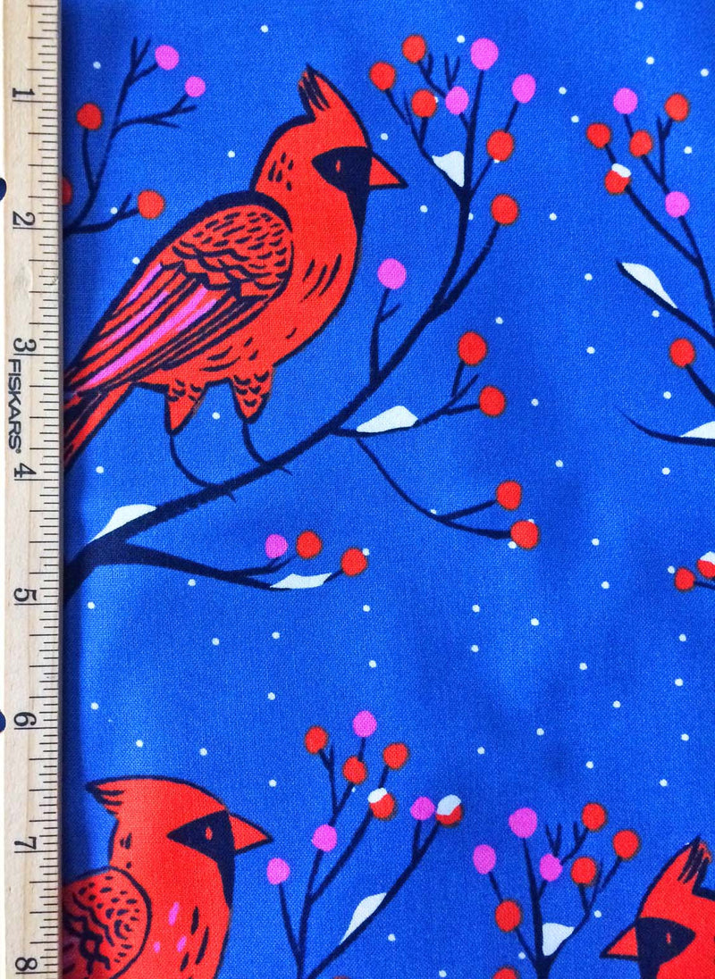 Big red cardinals sit on berry branches on bright rich blue cotton fabric - view 4
