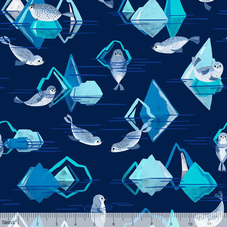 Cute seals swim in icey navy blue water with icebergs on cotton from Blend Fabrics - view 1