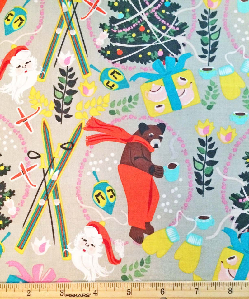 Bear and Christmas trees float on gray ground - view 3
