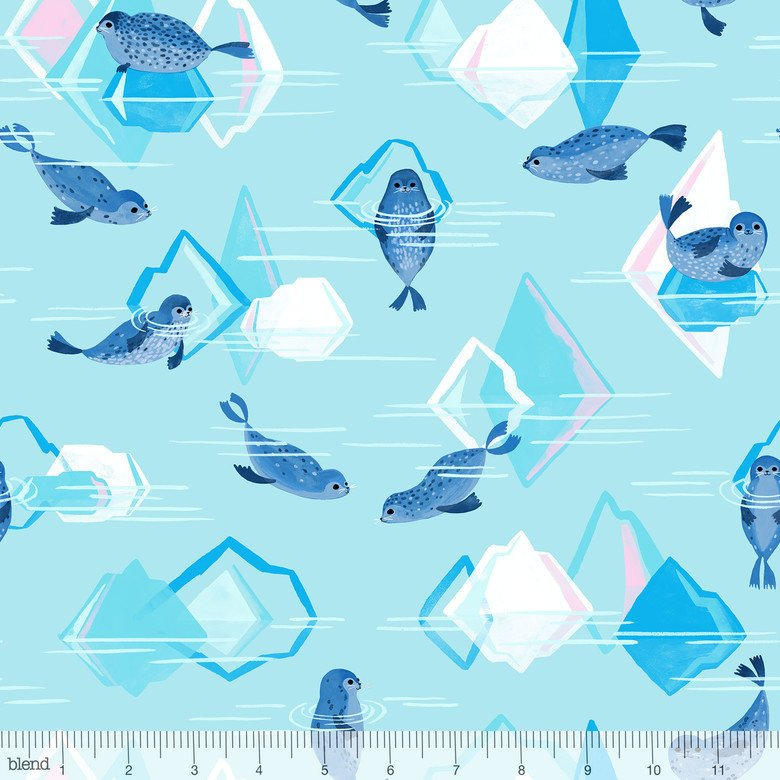 Adorable chubby seals swim on light blue cotton around pink and white icebergs - view 1