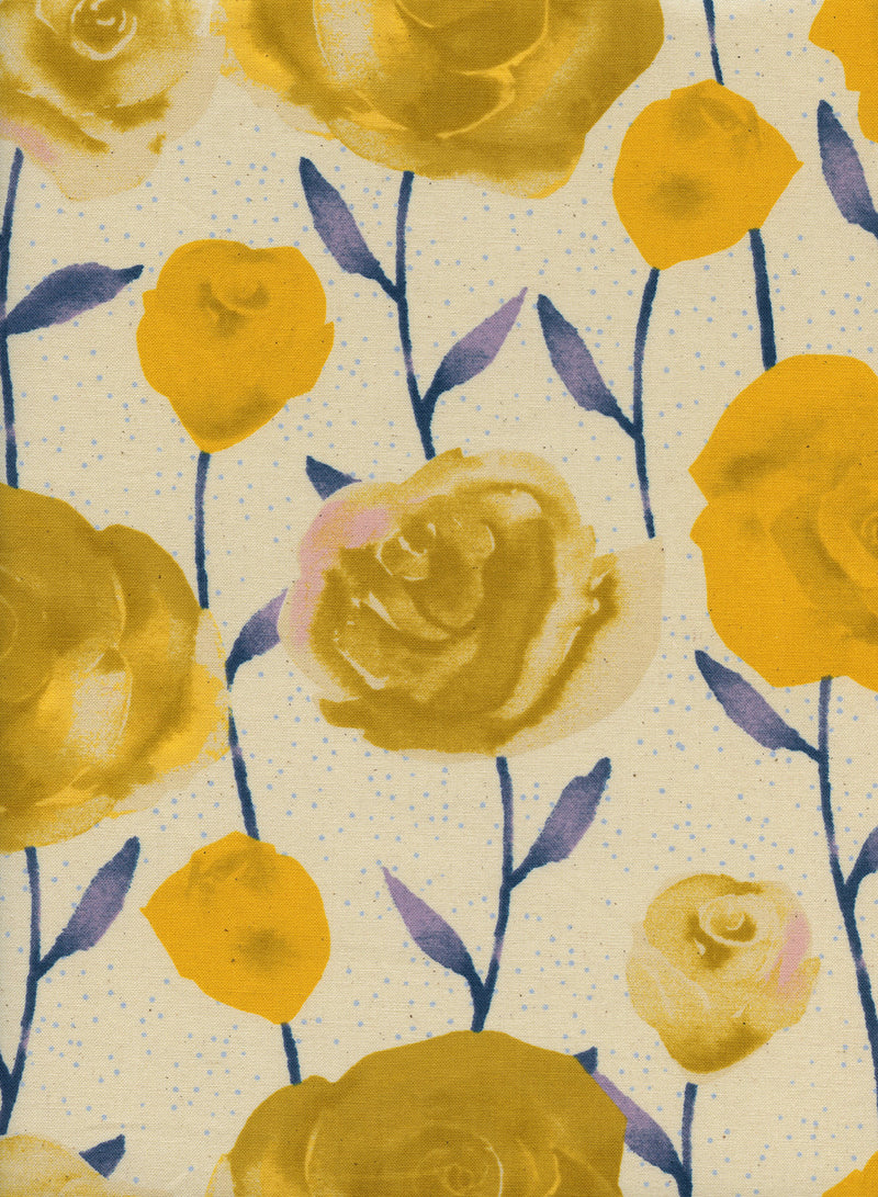 Big yellow roses on painted blue stems on white background in a pretty floral - view 1