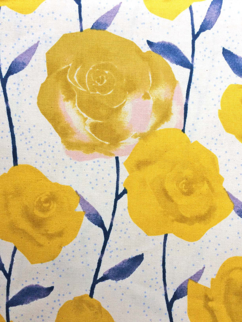 Big yellow roses on painted blue stems on white background in a pretty floral - view 2